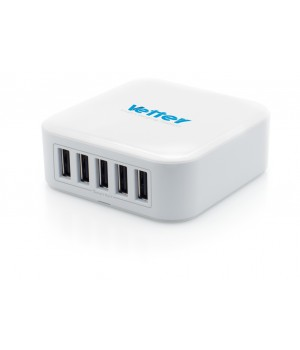 Universal Charging Station | 5 x Smart USB Outputs | 8.2A | White