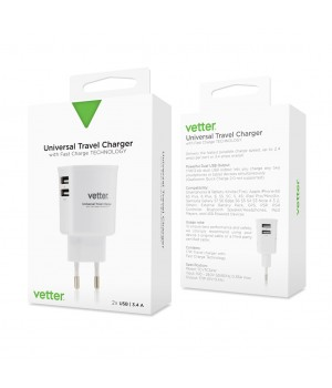 Universal Travel Charger | 2 x USB | 3.4A | White