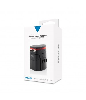 World Travel Adapter | With Dual USB Charger | Black