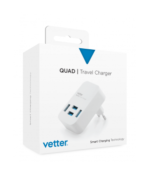 Quad Travel Charger | 4 x USB | 4A | White