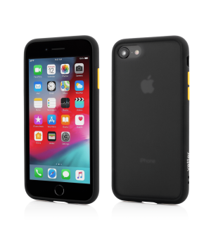 iPhone 8, 7, Clip-On Hybrid Protection, Shockproof Soft Edge and Rigid Matte Back Cover, Black