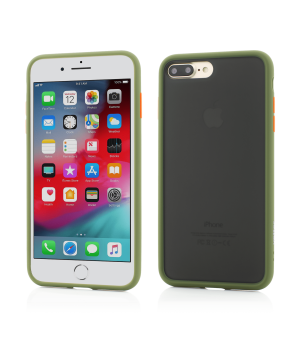 iPhone 8 Plus, 7 Plus, Clip-On Hybrid Protection, Shockproof Soft Edge and Rigid Matte Back Cover, Olive