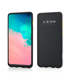 Samsung Galaxy S10, Clip-On Hybrid Protection, Shockproof Soft Edge and Rigid Matte Back Cover, Black