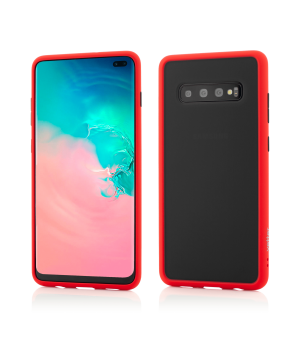 Samsung Galaxy S10+, Clip-On Hybrid Protection, Shockproof Soft Edge and Rigid Matte Back Cover, Red