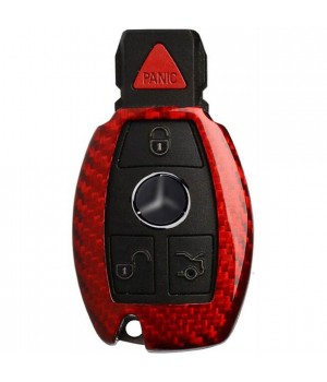 Case for Mercedes-Benz Key W203, W210, W211, Made from Aramid Fiber, Kevlar, Glossy Red